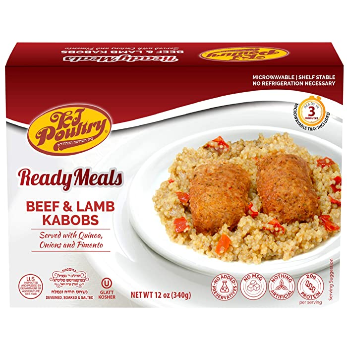 Kosher Mre Meat Meals Ready to Eat, Beef & Lamb Kabob (1 Pack) - Prepared Entree Fully Cooked, Shelf Stable Microwave Dinner, Deliverd Home – Travel, Military, Camping, Emergency Survival Canned Food