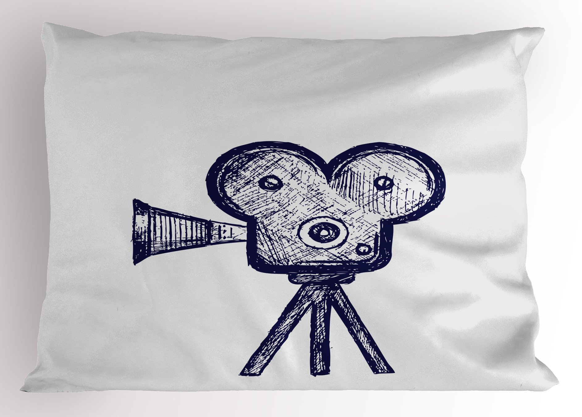 Ambesonne Movie Theater Pillow Sham, Hand Drawn Sketch of a Video Projector in Blue Tones Cinema Symbol, Decorative Standard Queen Size Printed Pillowcase, 30 X 20 inches, Violet Blue Grey