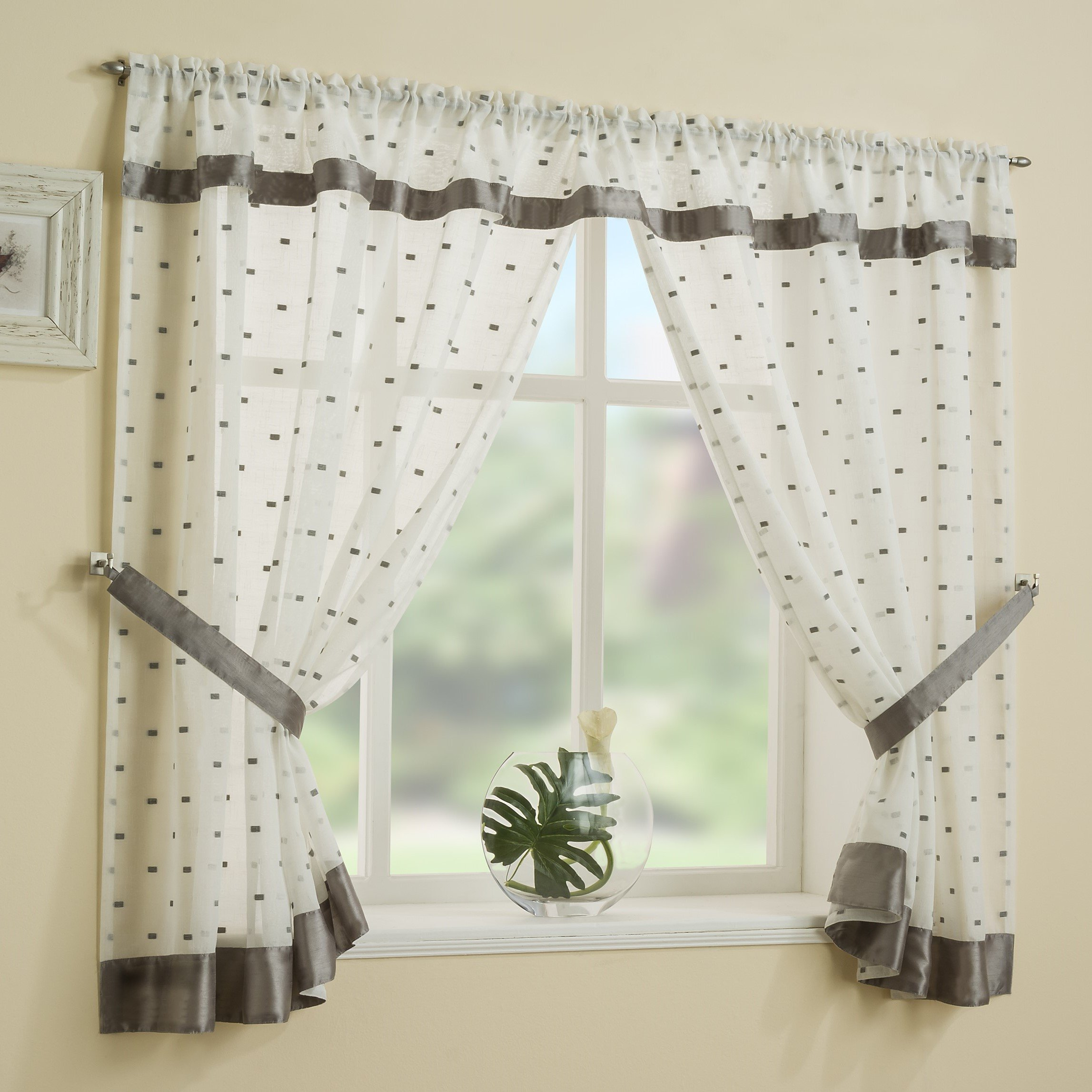 Silver Grey Linen Look Window Set Bathroom Kitchen Curtains Squares Off White 53x48 Inches Drop 135cm