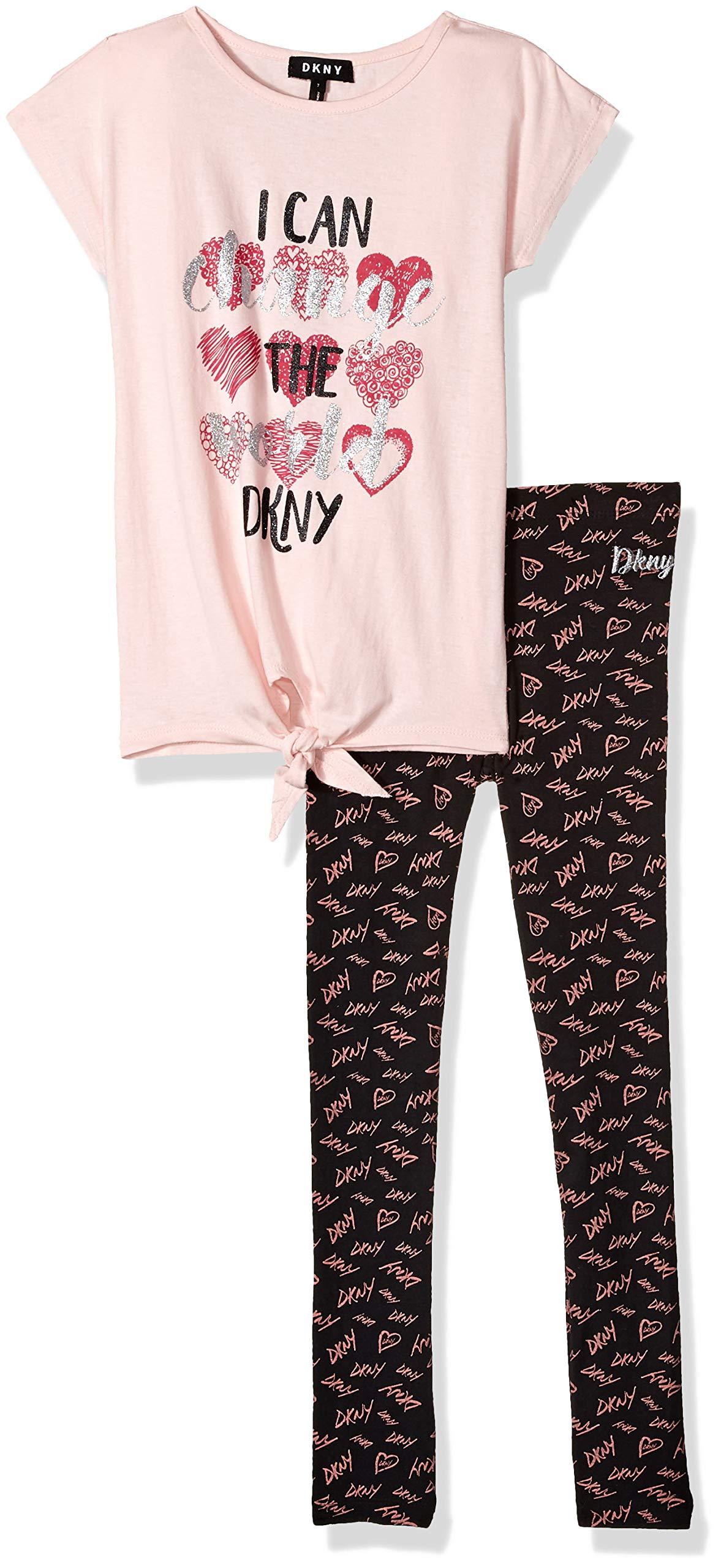 DKNY Girls' Big 2 Piece Change The World T-Shirt and Legging Set, English Rose, 10
