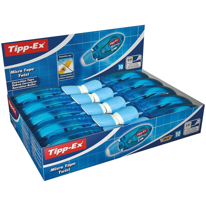 Tipp-Ex Micro Tape Twist - Caja de 10 unidades, cinta correctora 8 mx 5 mm, color azul