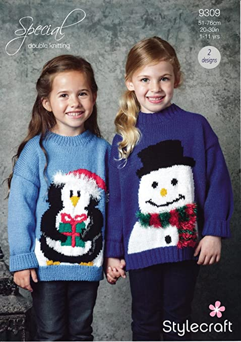 Stylecraft 9309 Knitting Pattern Childrens Christmas Jumper In