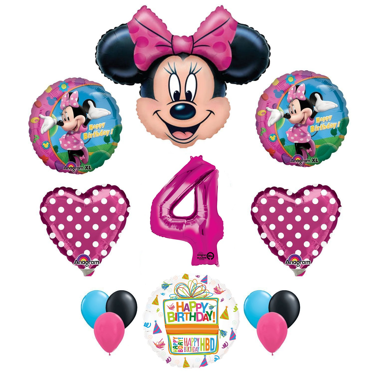 Amazon Minnie Mouse 4th Birthday Party Supplies And Pink Bow 13 Pc Balloon Decorations Toys Games