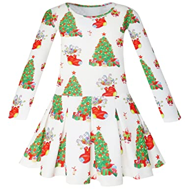 21d6e6508cac7 Sunny Fashion Robe Fille Sapin de Noël Noël Bas Vacances 4-10 Ans ...