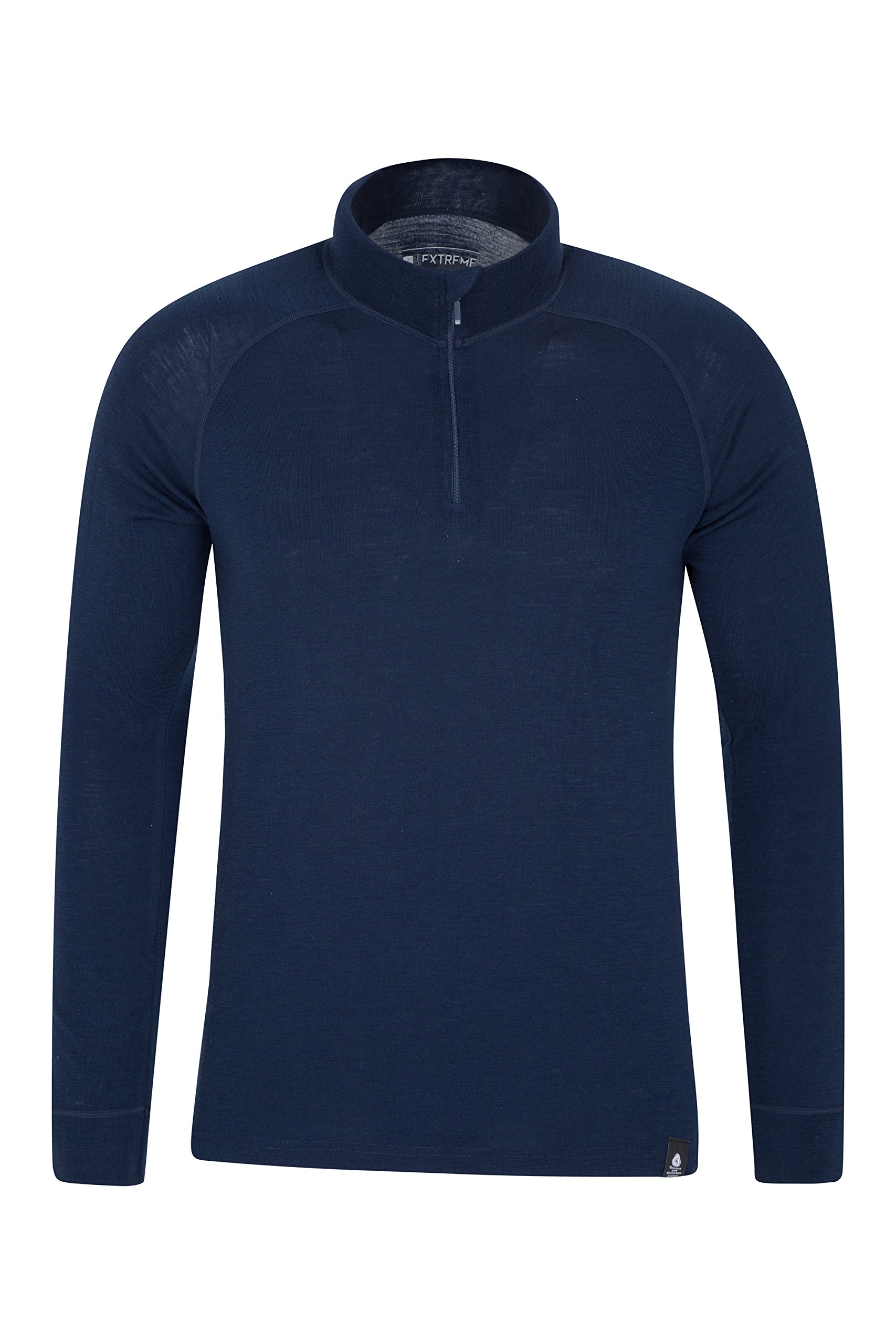 Mountain Warehouse Merino Mens Top - Breathable Tshirt, Half Zip Tee Navy Small by Mountain Warehouse