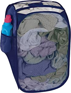 Smart Design Pop-Up Laundry Hamper w/Easy Carry Handles & Side Pocket - Durable Fabric Collapsible Design - for Clothes & Laundry - Home Organization (Holds 2 Loads) (13 x 21 Inch) [Blue]
