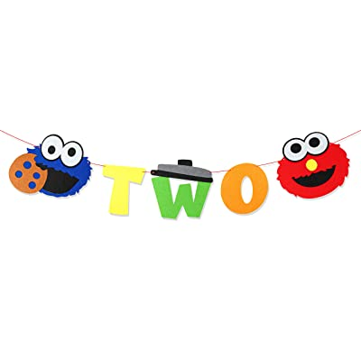 PANTIDE Sesame Inspired 2nd Birthday Banner Sesame Themed Two Banner High Chair Banner Elmo Cookie Monster Photo Props Garland Party Supplies Decorations for Two Years Old Boys Girls: Toys & Games