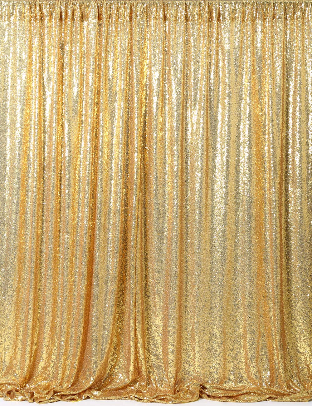 Gold Sequin Backdrop Photography 8ft x 8ft Sparkly Curtain Backdrop for Wedding Stage Decoration by QueenDream