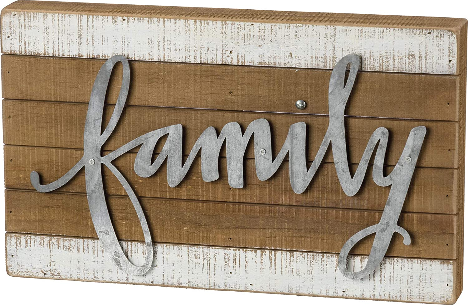Primitives by Kathy Hand Lettered Slat Wood Box Sign, 15 x 9-Inches, Family