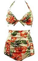 Cocoship Retro 50s Black Pink Blue Floral Halter High Waist Bikini Carnival Swimsuit(FBA)