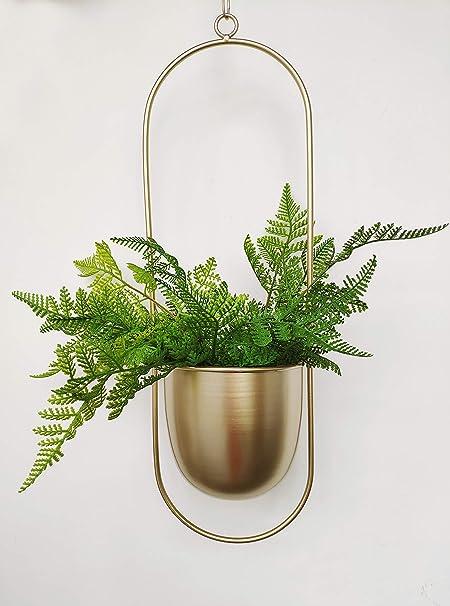 Boho Gold Metal Plant Hanger,Modern Round Hanging Planter Plant Holder Decor