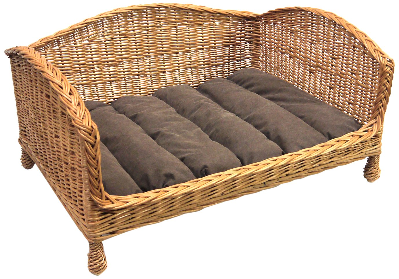 Luxury Corner Wicker Dog Bed with Cushion, Extra Large