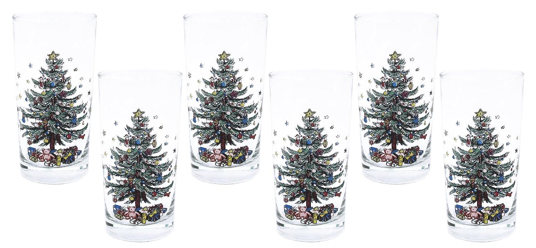 Amazon.com | Nikko Ceramics Christmas Highball Glass, 12-Ounce, Set ...