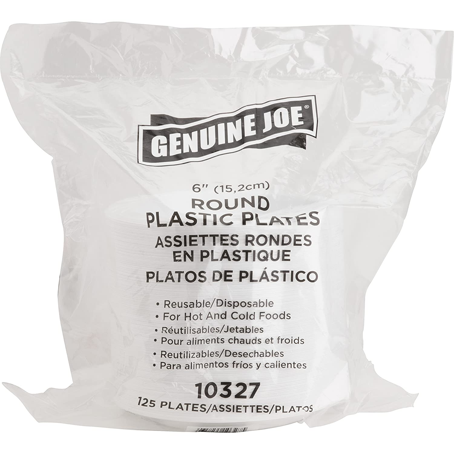 Amazon.com Genuine Joe GJO10327CT 6  White Plastic Plates Reusable/Disposable for Hot or Cold Food (8 packs of 125 units) Industrial u0026 Scientific  sc 1 st  Amazon.com & Amazon.com: Genuine Joe GJO10327CT 6