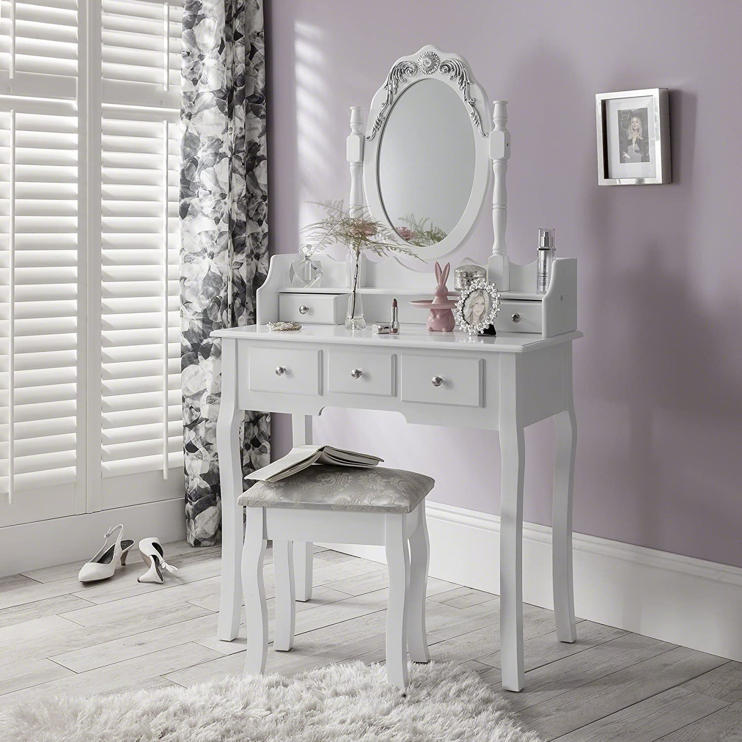 Capri Dressing Table Mirror and Stool Set Laura James Shabby Chic AGTC Ltd