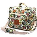 Malirona Women's Canvas Overnight Weekender Bag Carry On Travel Duffel Tote Bag Bohemian Flower (Green Flower)