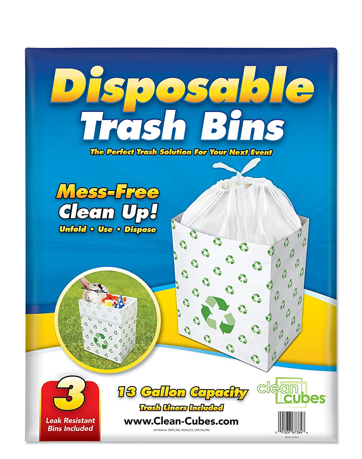 Amazon.com: Clean Cubes 13 Gallon Disposable Trash Cans & Recycling ...
