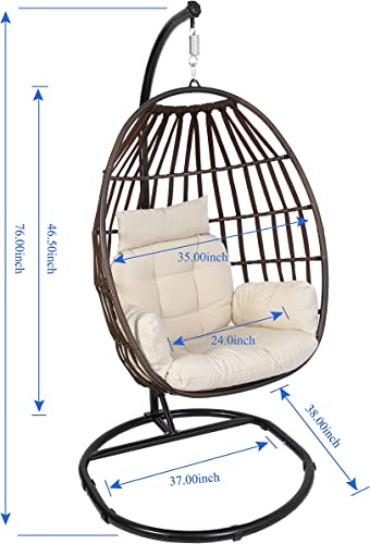 Luckyberry Wicker Egg Chair Rattan Teadrop Foldable Chair, Hanging Chair, Outdoor Patio Porch Lounge Chair
