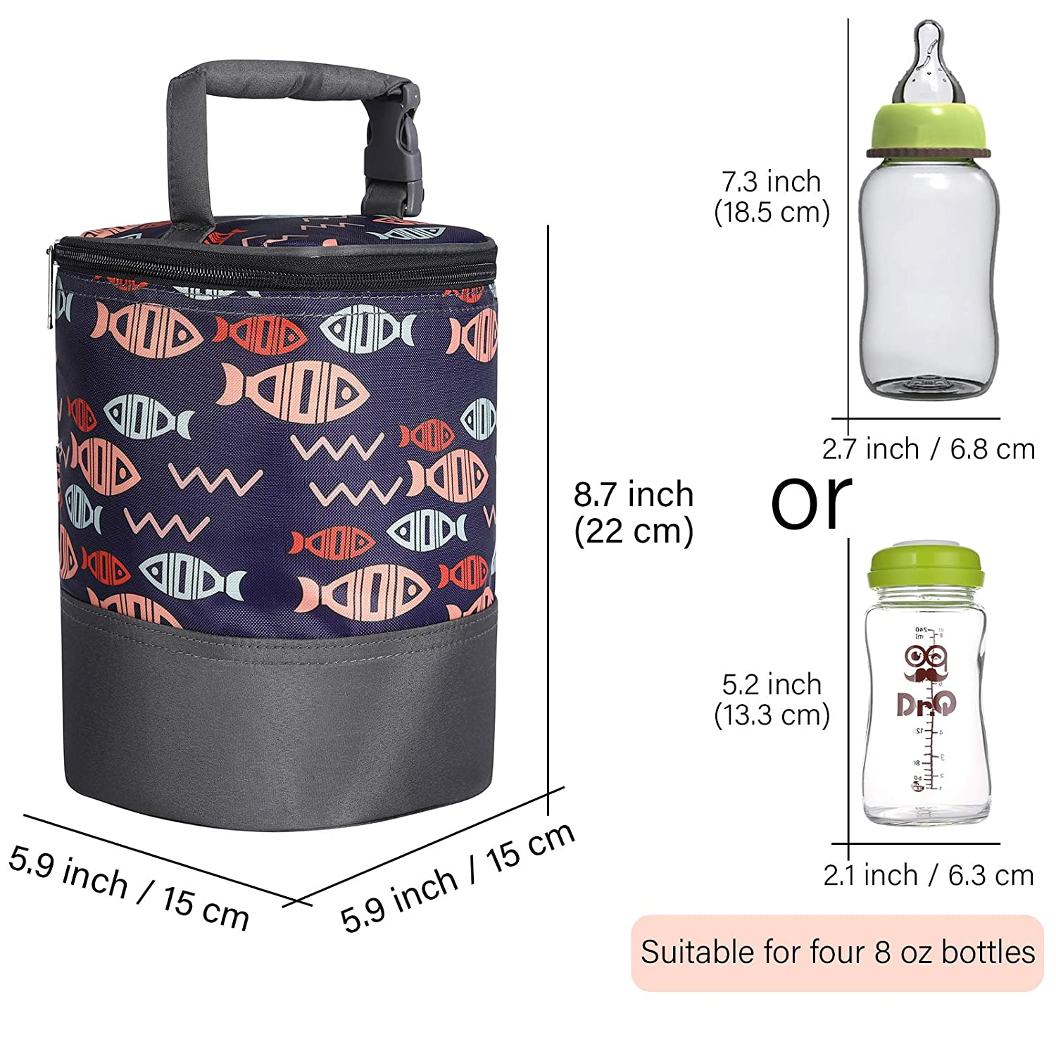 Insulated Breastmilk Cooler and Baby Bottle Bag Tote Bag for Travel fit Four 8-Ounce Bottles