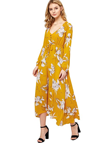 Milumia womens button up split floral print flowy party maxi dress milumia womens button up split floral print flowy party maxi dress small m yellow mightylinksfo