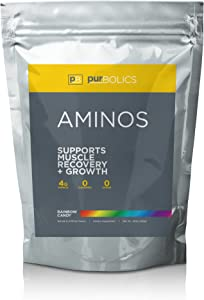 Purbolics Aminos | Supports Muscle Recovery & Growth | 4g of Free-Form Amino Acids, Beta-Alanine, 0 Calories & 60 Servings (Rainbow Candy)