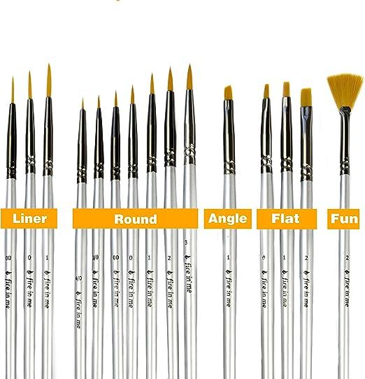 15 X Fine Tip Artist Brush Set Small Art Crafts Model Paint Brushes kit