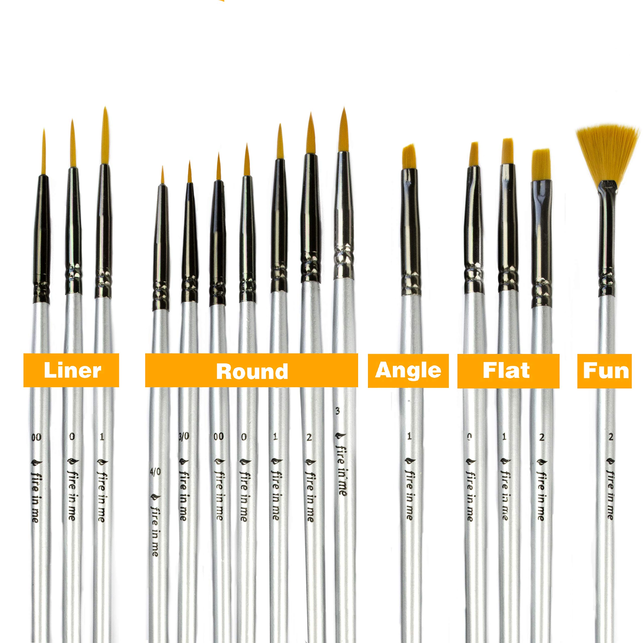 Premium Fine Detail Paint Brush Set of 15 pcs, Miniature Paint Brushes kit, Tiny Small Model Brushes for Acrylic Painting, Watercolor Oil - for Miniatures, Fine Detailing, Model, Art Hobby Supplies by fire in me