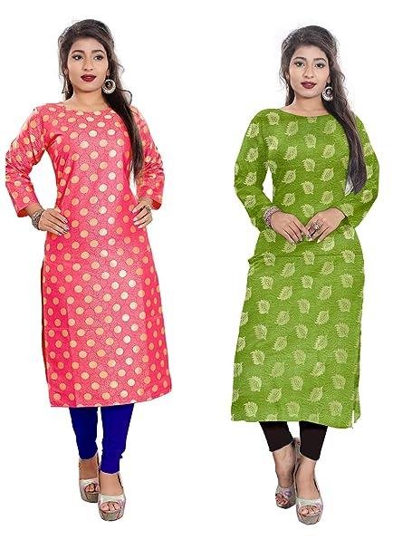 a8571a86ad91 Platinum Womens New Latest Designed Cotton Jacquard Combo Kurti Fancy Semi  Stitched Combo Kurti (Pack Of 2 Combo Kurti)  Amazon.in  Clothing    Accessories