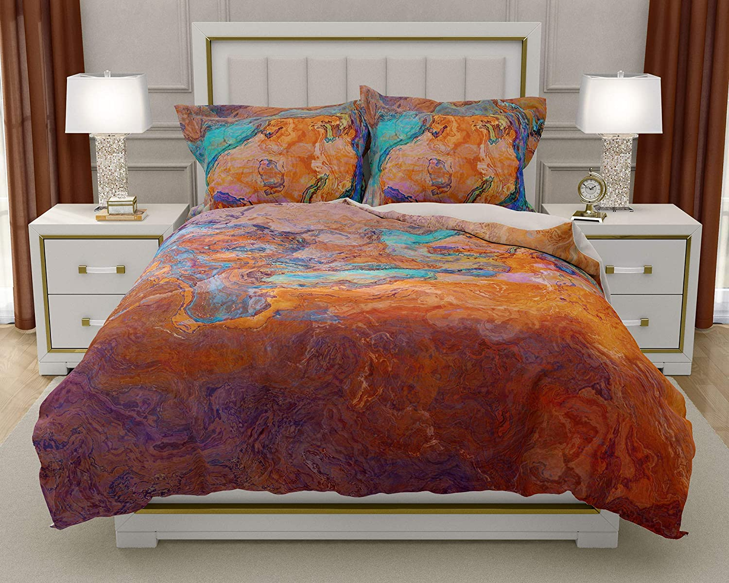 Image of Home and Kitchen King or Queen 3 pc Duvet Cover Set with abstract art, Southwest Archetype