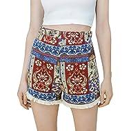 c10c08c4a79 Simplee Women s High Waisted Shorts Ethnic Print Tassles Mini Short