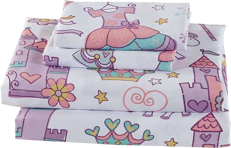 Fancy Linen 3pc Twin Sheet Set Magical Castle Crown Unicorn Lavender White Yellow Pink Aqua Blue New
