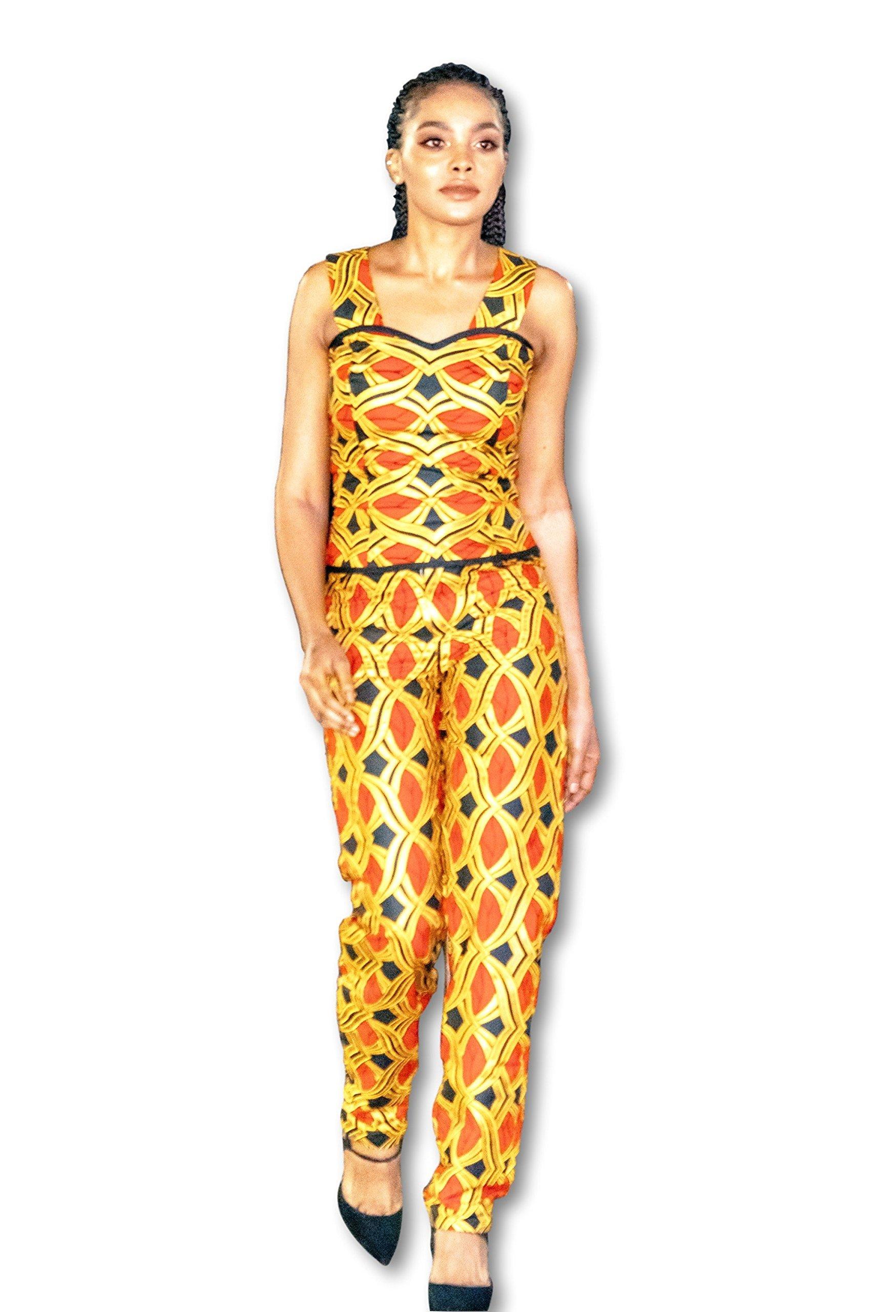 Kuwaha African Print Top and Pant Outfit Set