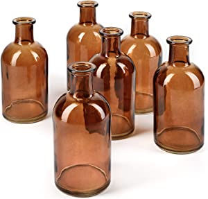 Bud Vases, Apothecary Jars, Decorative Glass Bottles, Centerpiece for Wedding Reception, Elegant Antique Decoration, Mini Flower Vases, Small Medicine Bottles for Home Decor (Amber, Set of 6)