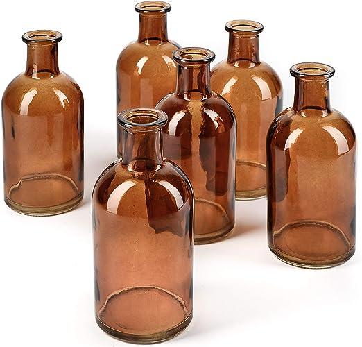 Set of 3 Vintage Style Clear Glass Bottles Small Bud Vase Wedding Decoration