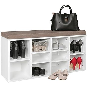FineBuy Schuhbank LUISA Weiß für 10 Paar Schuhe & Stiefel 103,5 x 53 ...