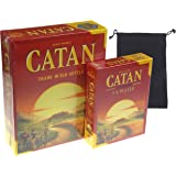 Catan 5th Edition Board Game with Catan 5-6 Player Extension Bundle - Includes Convenient Velour Drawstring Storage Bag…