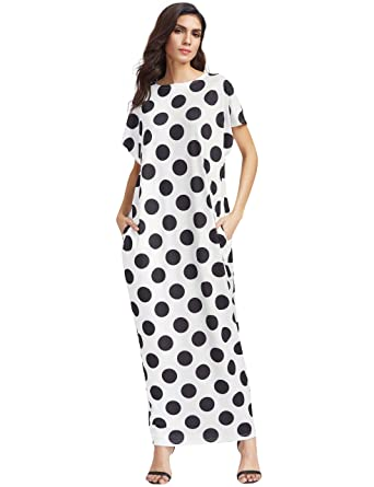 aecede26c82 Romwe Women s Casual Polka Dot Long Maxi Pockets Cocoon Dress White ...