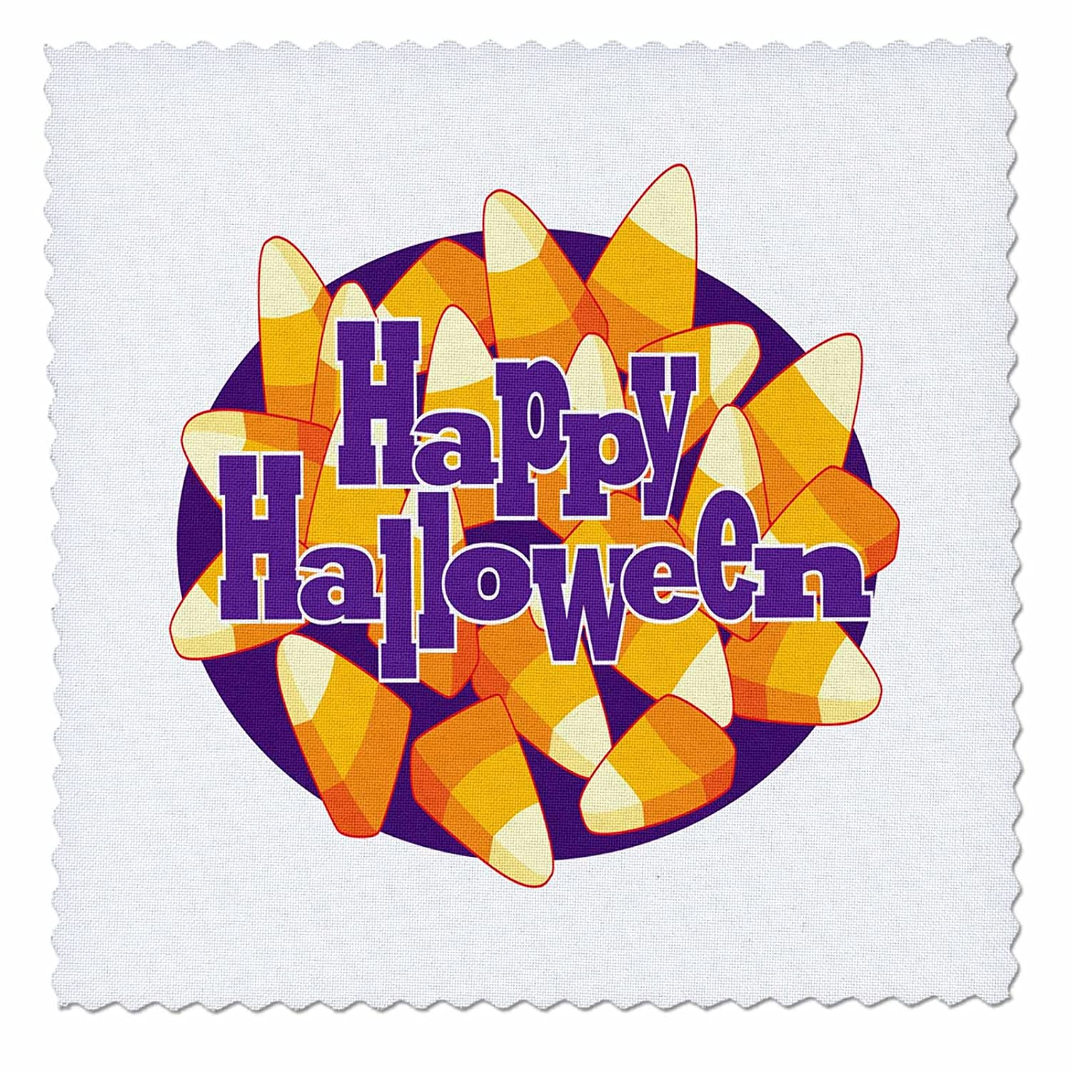 Quilt Square 3dRose Cute Halloween Candy Corn With Happy Halloween Illustration qs/_216798/_1 10 by 10-inch