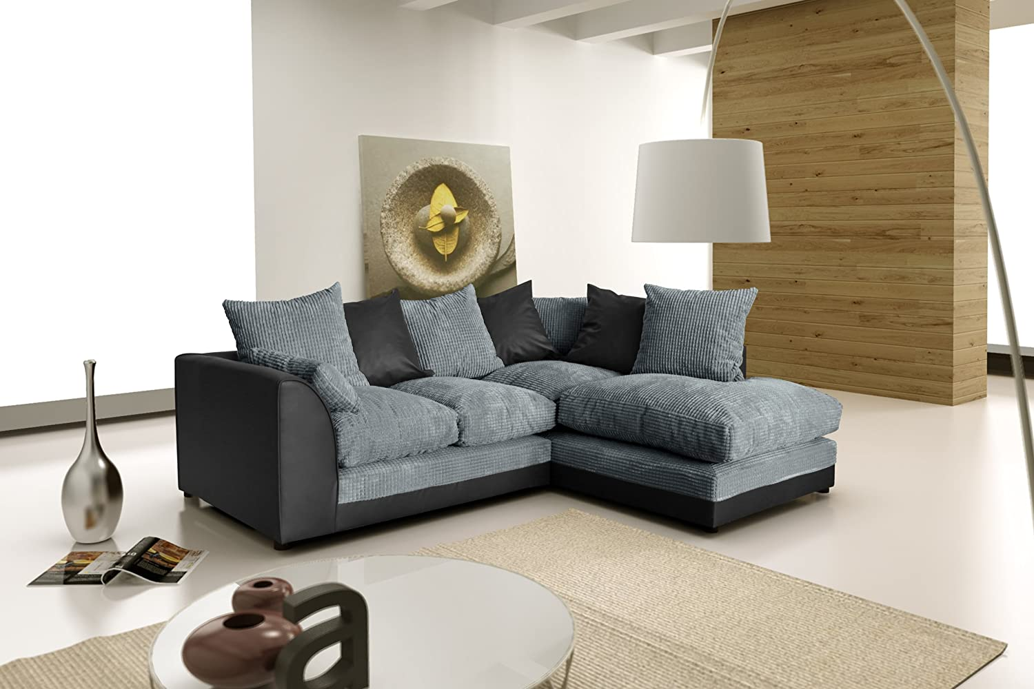 Dylan New Zina Black Swirl Fabric Corner Sofa, Left Right (Corner Right  (child)): Amazon.co.uk: Kitchen U0026 Home