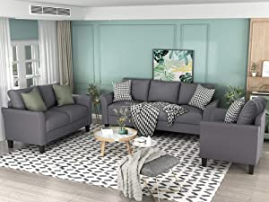 GAOPAN Piece, Living Room Furniture Include Armchair Loveseat Couch(1+2+3, Polyester-Blend Home 3pc sectional Sofa Set, Gray