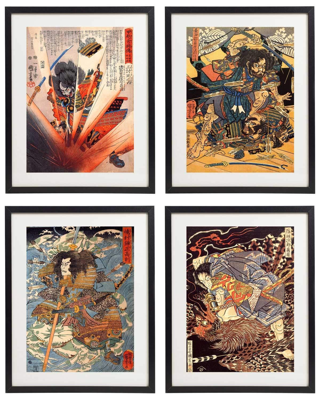 IDIOPIX Japanese Samurai Art Warriors Painting Wall Art Set of 4 Prints UNFRAMED No.7