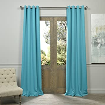 Half Price Drapes BOCH 201404 96 GR Grommet Blackout Curtain, Turquoise Blue