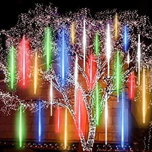 EAGWELL Upgraded 50cm 10 Tubes 540 LED Meteor Shower Rain Lights, Drop/Icicle Snow Falling Raindrop Cascading Lights Wedding Party Christmas New Year Garden Tree Home Decor (Multicolor)