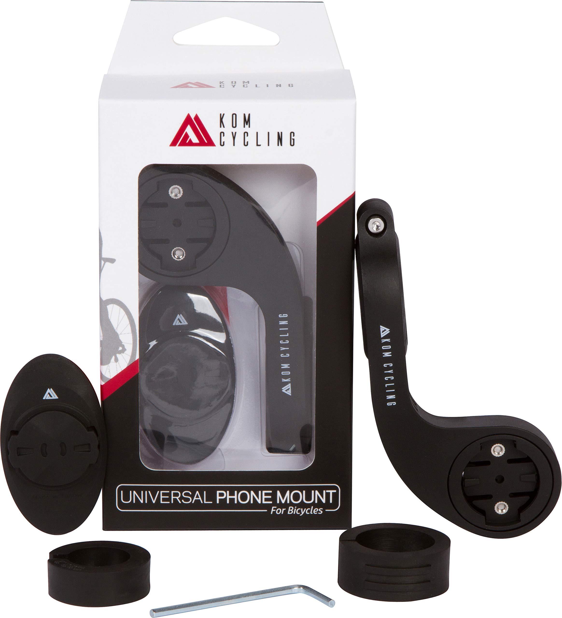 KOM Cycling Garmin Edge Universal Phone Adapter Attach Your Smartphone to Any Garmin Bike Mount - Garmin Quarter Turn Phone Mount Adhesive Adapter ... (Universal Phone Mount Kit)