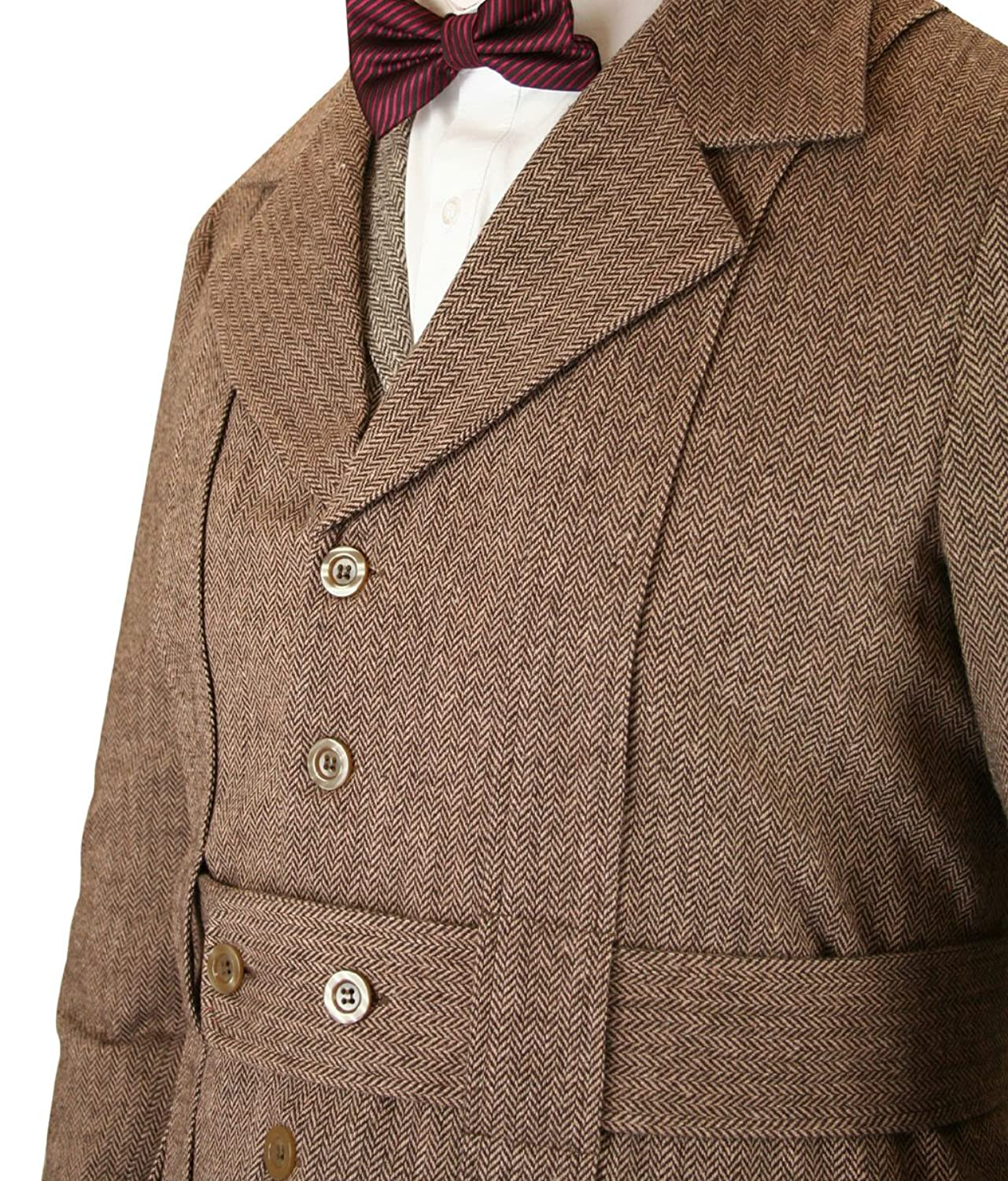 1900s Edwardian Men's Suits and Coats Historical Emporium Mens Norfolk Wool Blend Herringbone Tweed Jacket $149.95 AT vintagedancer.com
