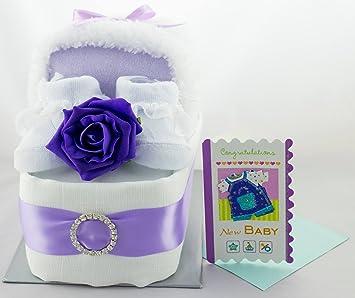 Amazon.com: Lindo tarta de pañales de pañales cuna bebé niño ...