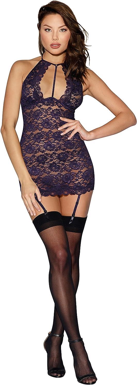 B077S41ZC7 Sexy Lace Garter Slip Lingerie with Strappy Neckline Purple 81ey-cr0qsL