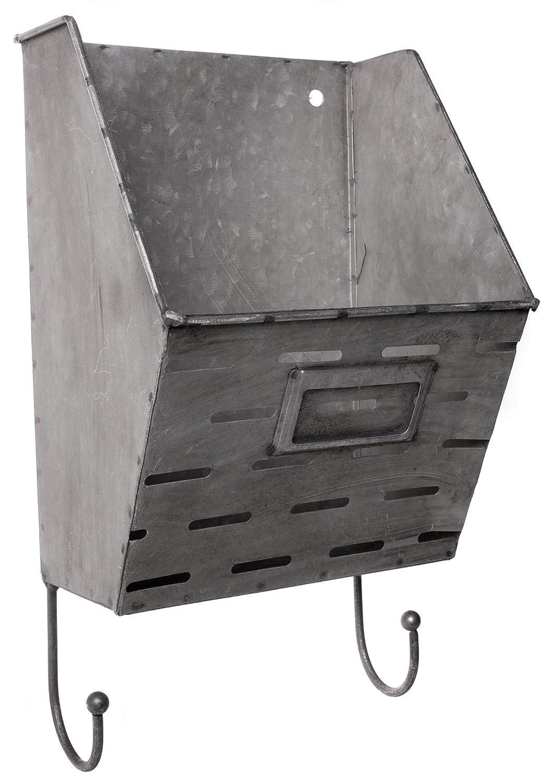 亜鉛メッキメタル壁ポケットフック付き – 13 x 7インチ B06XYFN4TH 15721
