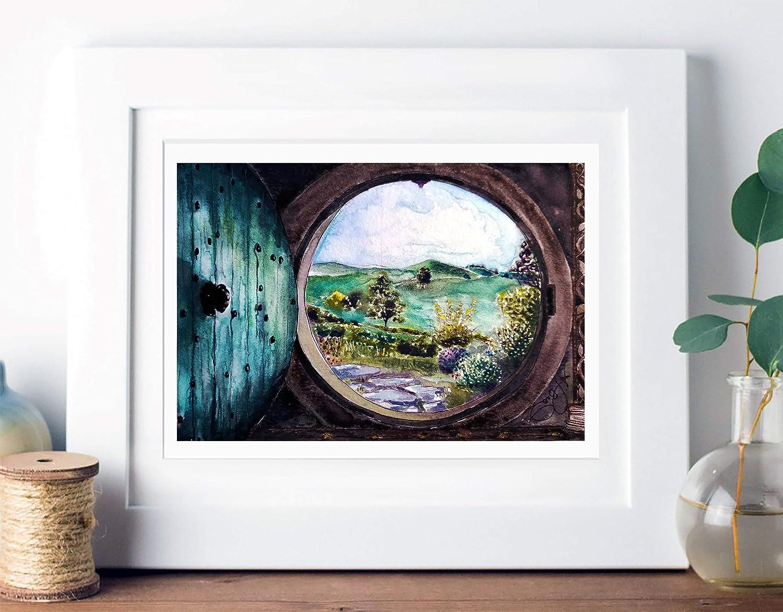 Hobbit Hole | Bilbo Baggin's door | Lord of the Rings Watercolor Artwork | Giclee Art Print by The Tattered Traveler
