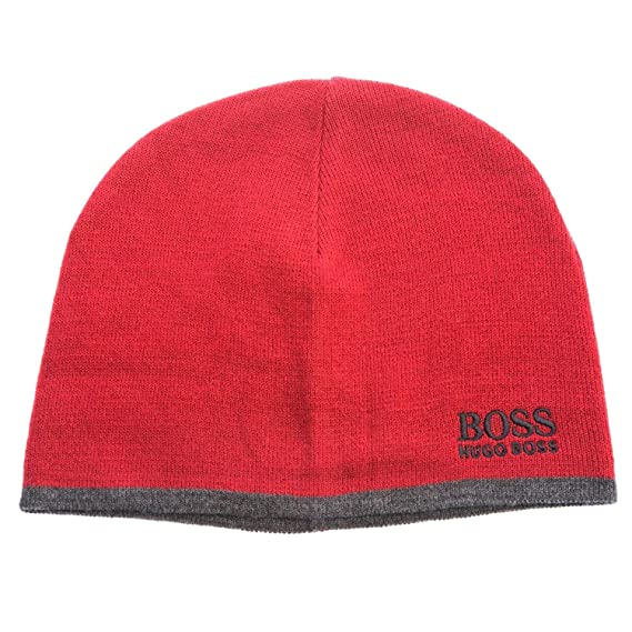 2fea98145277c4 BOSS Men's Beanie Blue Blue - Red - One Size: Amazon.co.uk: Clothing
